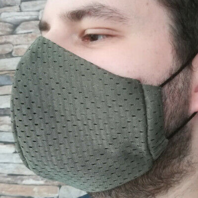Gr XL Coolmax® Mesh Arbeitsmaske 8-Stunden Mundschutz Gesichtsmaske oliv khaki
