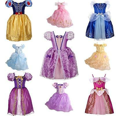 Kids Girls Costume  Princess Fairytale Dress Up Belle Cinderella Aurora Rapunzel - Princess Aurora Dress