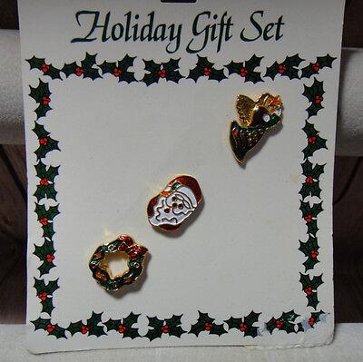 Vintage Christmas Pins Set of 3 on Display Card Holidy Gift Set Wreath Santa Ang