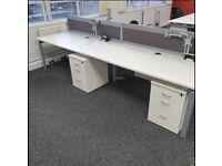 White Top Bench Desks Complete With Desktop Screens
