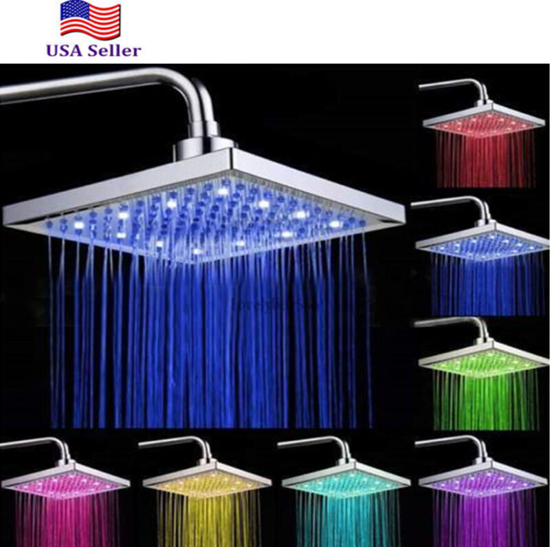LED Square 8 Inch Rainfall Shower Head Sprayer 7 Colors Changing Square Shower