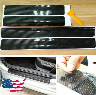 4x Carbon Fiber Car Door Plate Sill Scuff Cover Anti Scratch Sticker Accessories