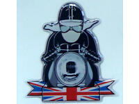 Triumph Norton BSA AJS  3D Doming Decal Pin up Union Jack