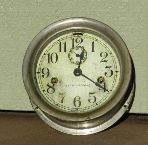 Vintage Seth Thomas 8 Day Double Wind Ships Maritime Clock