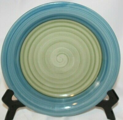 PIER 1 PER118, Salad Plate, Hand Painted, Blue Rim, Green Center, (Blue Rim Salad Plate)