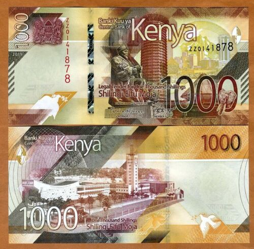 Kenya, 1000 shillings, 2019, P-New, ZZ-Prefix, UNC > New Design, REPLACEMENT