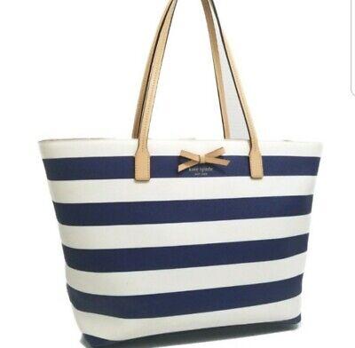 Kate Spade Sawyer Street Margareta indigo Blue & Cream White Stripe Bow Tote