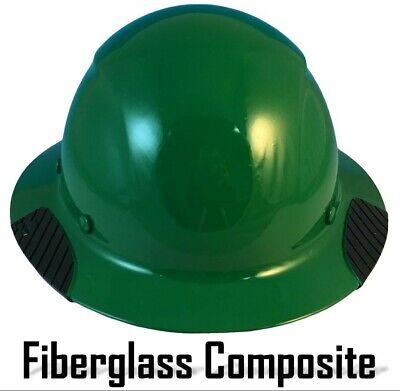 Dax Fiberglass Composite Lift Safety Full Brim Hard Hat - Dark Green