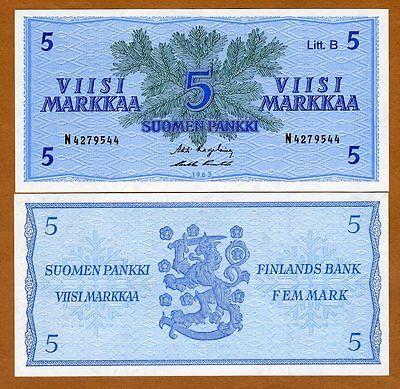 Finland, 5 Markka, 1963, Pick 106A, the last pre-Euro, UNC