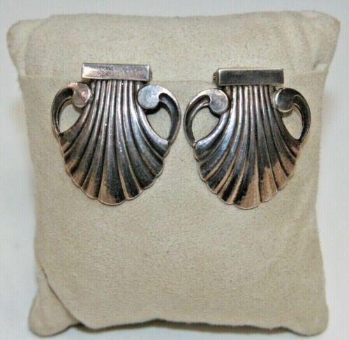 "Vintage Georg Jensen Sterling Silver Shell Shaped Dress/Shoe Clips #246, 1 1/4"""