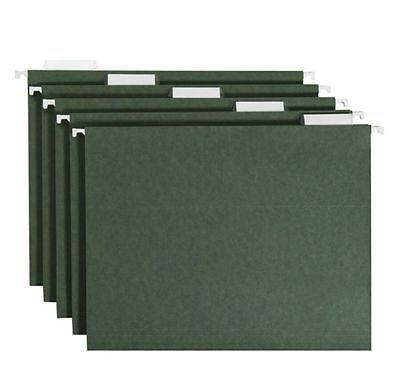 Smead 1 / 5 Tabs Hanging File Folders Cut Letter Size Standard Green 50 Ct