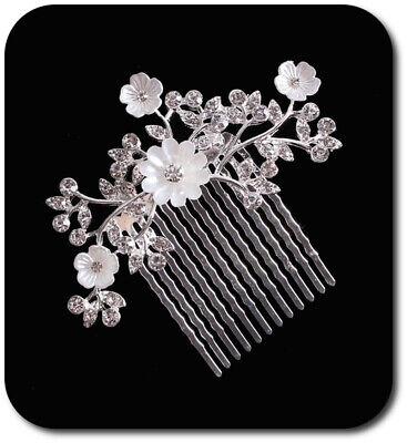 Haircomb Arreglo Del Pelo Boda Kammen Metal Novia Flores Estrás Esmalte Plata