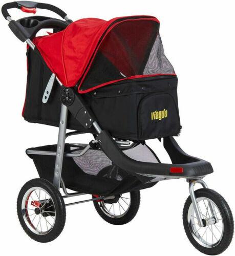 New 3 Wheels Jogging Dog Stroller Folding Carrier Cart Link Brake Red