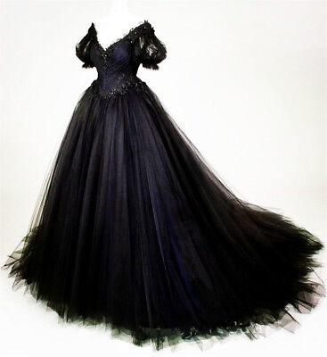 Gothic Black Short Sleeve Wedding Dresses Vintage A Line Lace Bridal Gown Custom