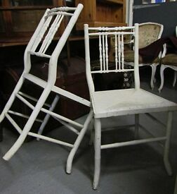 Antique French Painted Bamboo Carved Rush Seat Chairs-Summerhouse-Conservatory-Patio-Garden-Bedroom