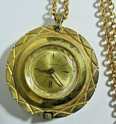 """VINTAGE SWISS WOMENS LUCERNO NECKLACE MANUAL WIND WATCH WITH 26"""" CHAIN RUNS"""