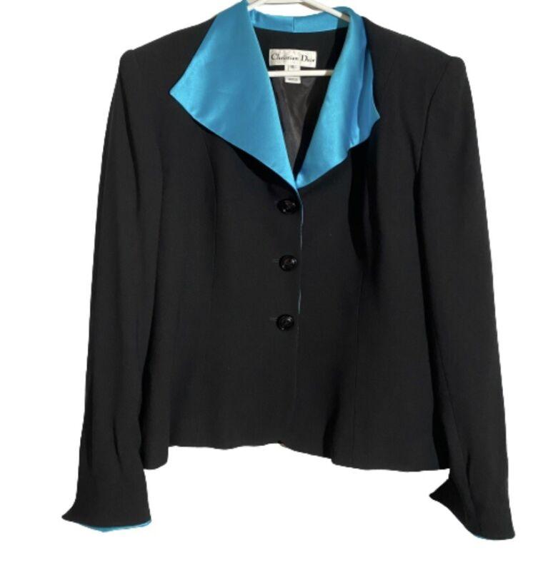 Christian Dior Blazer Size 16 Vintage Black Teal Button Down 80s Career
