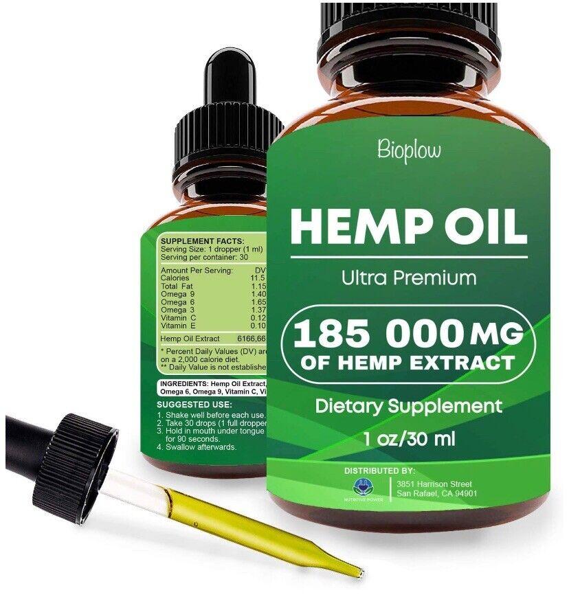 Bioplow Ultra Premium Hemp Oil 185,000mg 1.0 fl oz * NEW Sealed Exp 08/2021