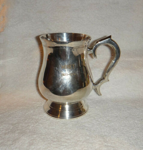 Vintage Silver Plated Tankard Engraved