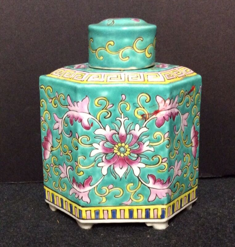 1920's Chinese Enameled Porcelain Tea Caddy