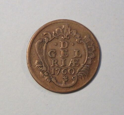 1760 Netherlands 1 Duit Copper Coin Gelderland Dutch Republic Crowned Arms Lions