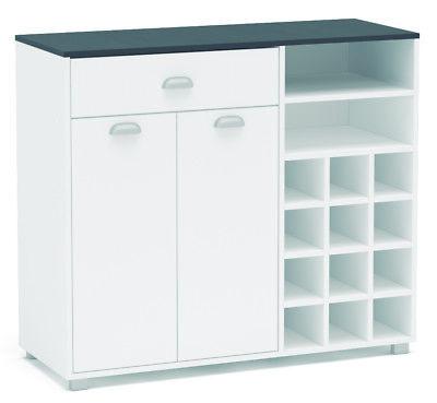Buffet cocina armario Asfeld con botellero blanco mueble auxiliar 101x90x40 cm