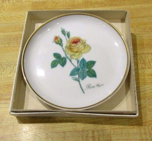 Vtg AK Kaiser Porzellan Gold Rim Yellow Rose Pin Trinket Dish Plate W Germany