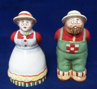 "Country FARM COUPLE Apple Grandma Grandpa 5"" Tall SALT & PEPPER SHAKERS for sale  Gulfport"