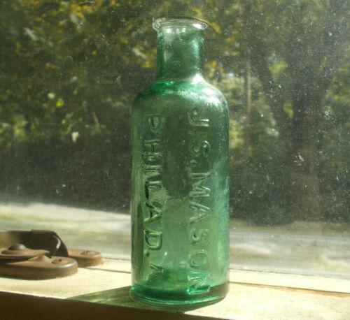 OPEN PONTIL PRETTY GREEN J.S.MASON PHILADA 1850s INK BOTTLE EARLY FLARED LIP