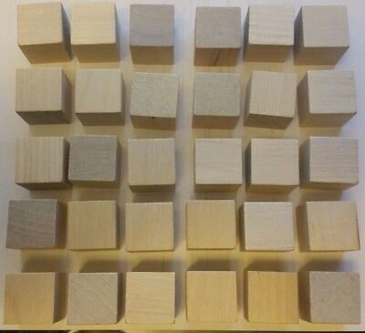 Wooden Cubes - 1 Inch - Wood Square Blocks For Photo Blocks, Crafts (30 BLOCKS)