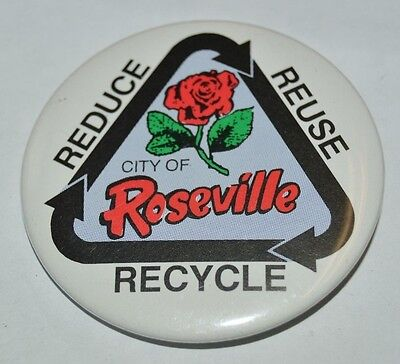 Vintage City of Roseville CA Reduce Reuse Recycle Button Jacket Pin MINT (City Of Roseville Ca)