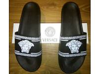 Men's black and white Versace Sliders