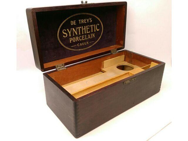 VINTAGE DE TREY'S SYNTHETIC PORCELAIN CAULK DENTISTRY WOODEN BOX OLD ADVERTISING