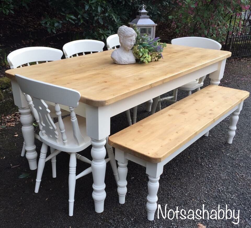 Pine 6ft Farmhouse New Handmade Table Bench And Chairs
