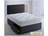 ⚫POCKET SPRUNG SET WITH 1 YEAR GUARANTEE MATTRESS⚫Brand New Divan Bed + 1000 Pocket Sprung Mattress