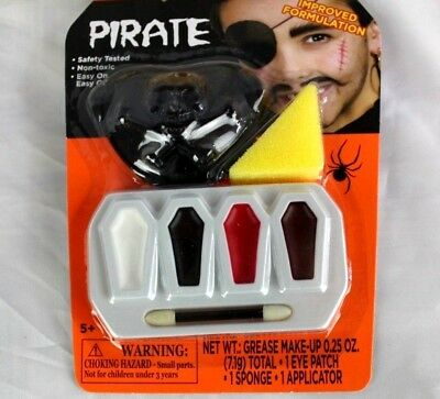 Pirate Make Up Kit Eye Patch Mustache Halloween Costume Dress Cosplay Adult Kids - Halloween Eye Patch Makeup
