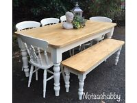 6FT SOLID PINE FARMHOUSE TABLE BENCH AND CHAIRS