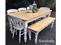 STUNNING SOLID NEW PINE 6FT FARMHOUSE TABLE BENCH AND CHAIRS