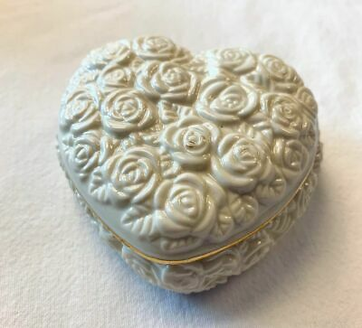 LENOX Rose Heart Trinket Box ~ Porcelain china w/24k Gold Trim Wedding Jewelry