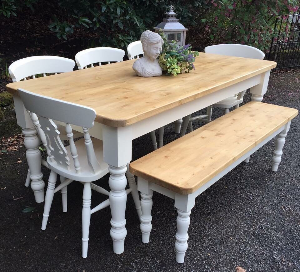 STUNNING HANDMADE PINE FARMHOUSE TABLE BENCH AND CHAIRS