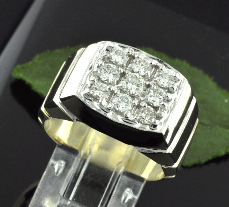 1.25 Ct 14k Solid Yellow Gold Mens Natural Diamond Ring Cluster Made In Usa