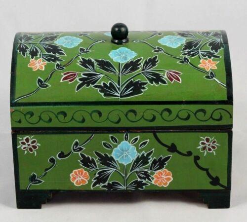 Mexican Wood Trinket/Jewelry Box Hand Made/Painted Folk Art Decorative Green