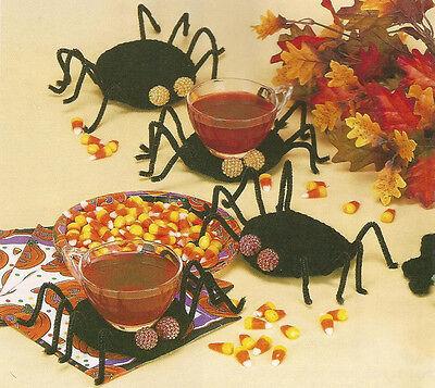 Crochet Pattern ~ SPIDER COASTERS Halloween ~ - Crochet Halloween Coasters