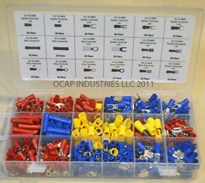 520 pc ASSORTED WIRE CONNECTORS TERMINALS KIT - ELECTRICAL WIRING SPLICE 22-10