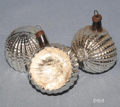 12 Antike Kleine Christbaumkugeln Glas Reflexkugel