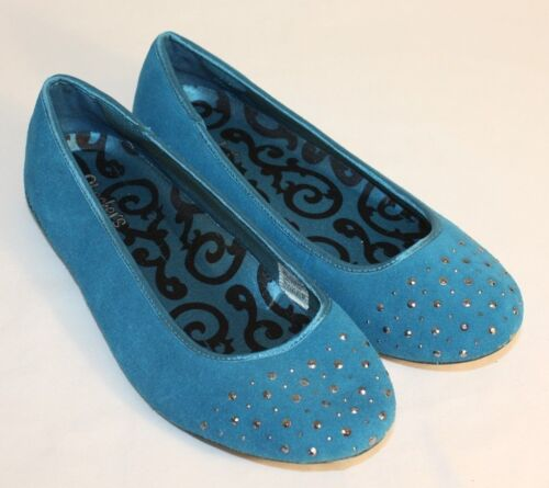 Skechers Womens Ladies Blue Teal Suede Beaded Flats Shoes Size 9.5M