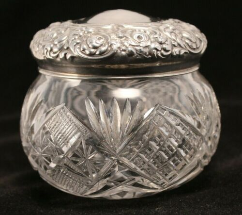 Unger Brothers Sterling Silver in Relief Cut Crystal Vanity Jar Circa 1900