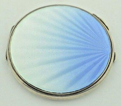 Art Deco Sterling Silver Blue Guilloche Enamel Mirrored Compact Powder Case