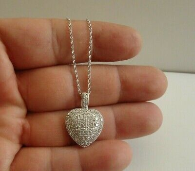 Diamond Accented Heart Pendant - HEART NECKLACE PENDANT W/ LAB DIAMOND ACCENTS /16'' TO 18''/ 925 STERLING SILVER