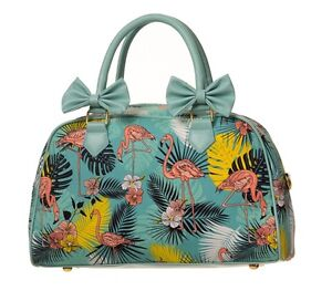 Banned Handbag 50s Tiki Flamingo Rockabilly Pin Up Girl Collectif Style Bag